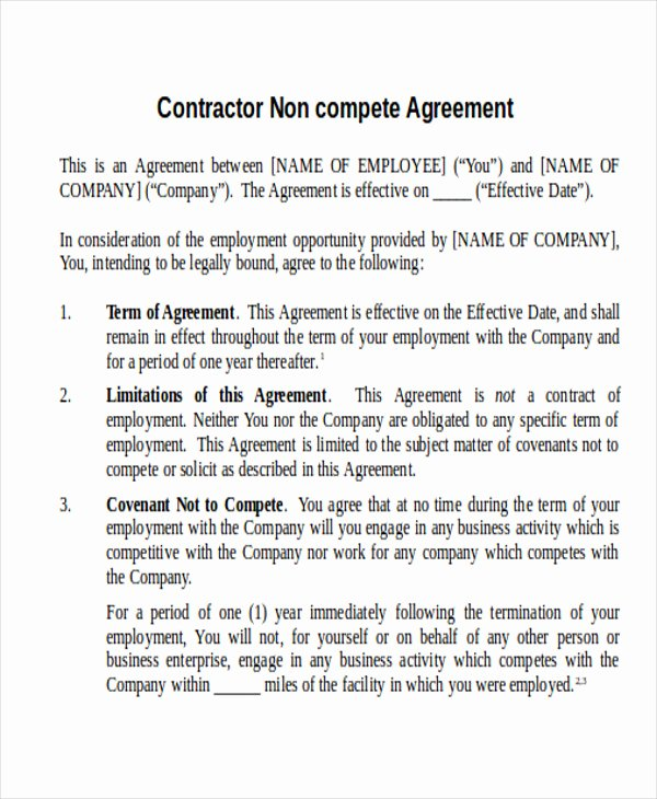 Contractor Non Compete Agreement Template Awesome 9 Contractor Agreement Samples – Pdf Doc
