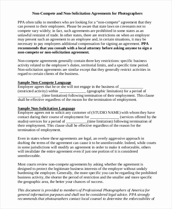 Contractor Non Compete Agreement Template Awesome Insurance Non Pete Agreement Template 8 Free Word