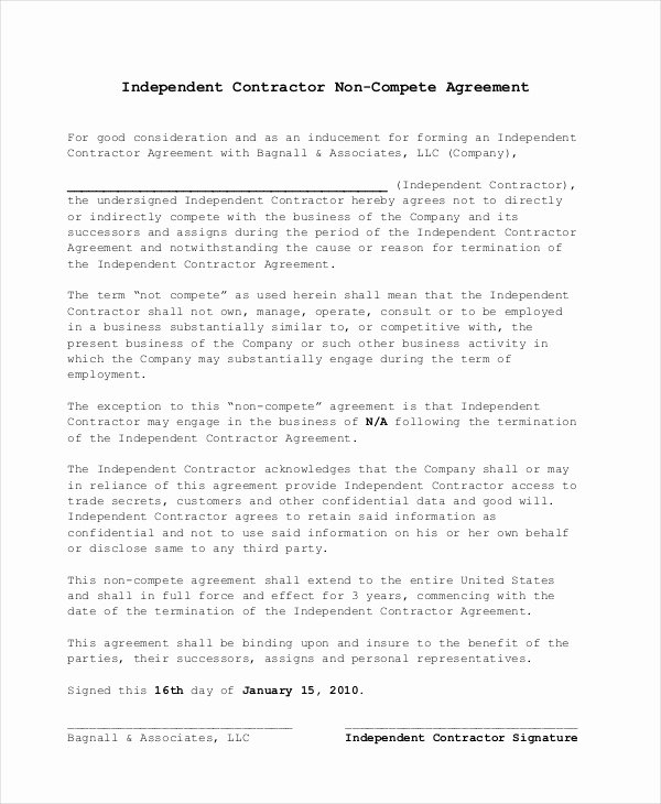 Contractor Non Compete Agreement Template Awesome Non Pete Agreement 11 Free Word Pdf Documents