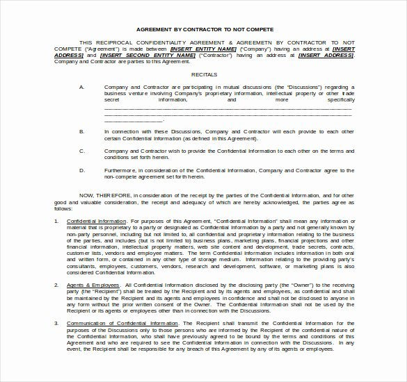 Contractor Non Compete Agreement Template Beautiful 11 Word Non Pete Agreement Templates Free Download