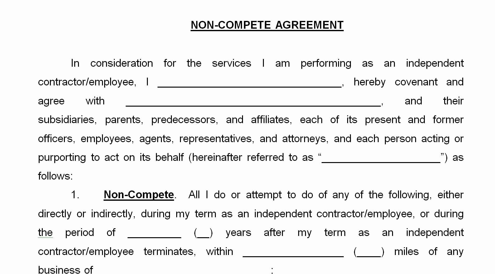 Contractor Non Compete Agreement Template Beautiful 33 Great Non Pete Agreement Texas Independent
