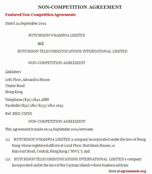 Contractor Non Compete Agreement Template Best Of Non Pete Agreement Sample Non Pete Agreement Template