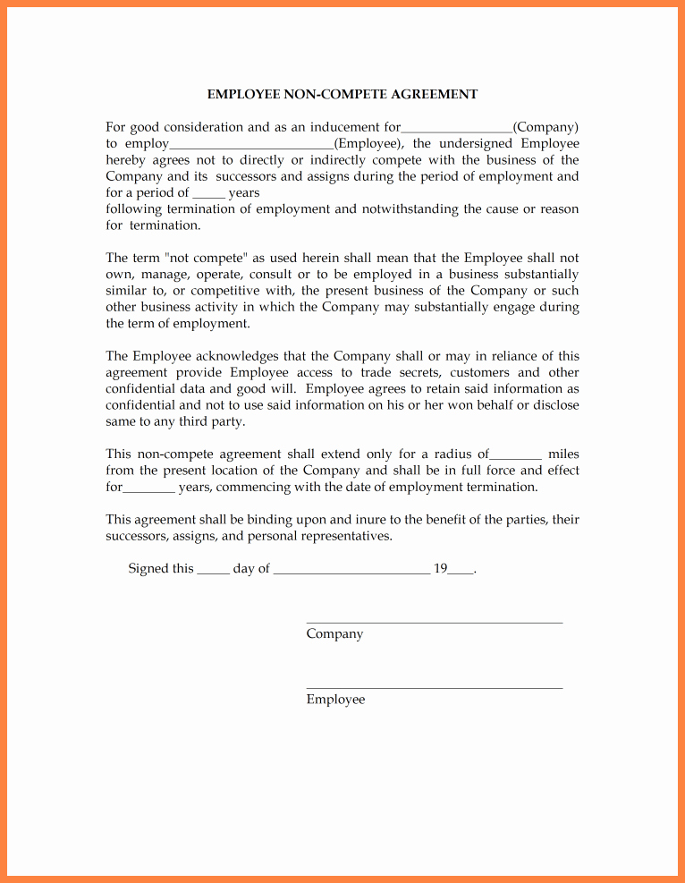 Contractor Non Compete Agreement Template Elegant 4 Non Disclosure and Non Pete Agreement