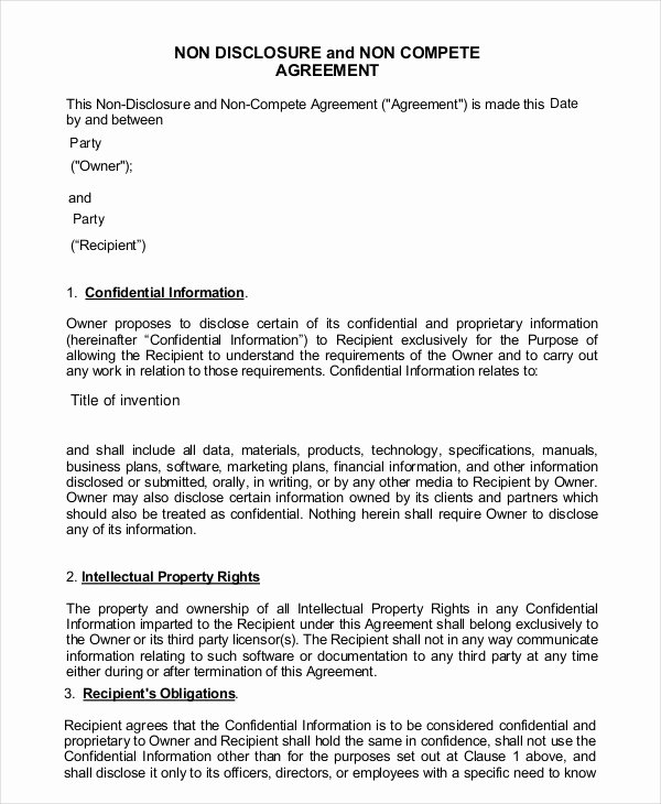 Contractor Non Compete Agreement Template Elegant 9 Contractor Non Pete Agreement Templates Free