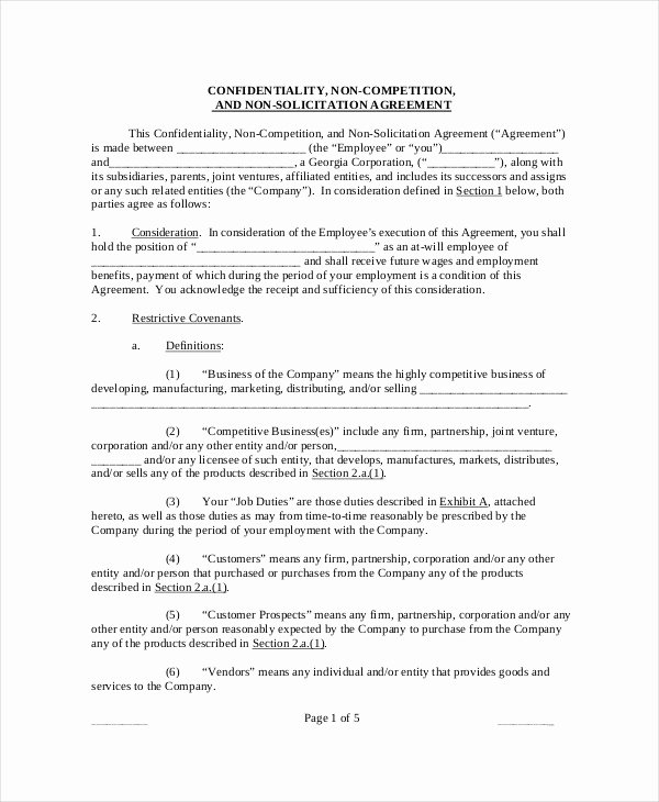 Contractor Non Compete Agreement Template Elegant Non Pete Agreement 11 Free Word Pdf Documents