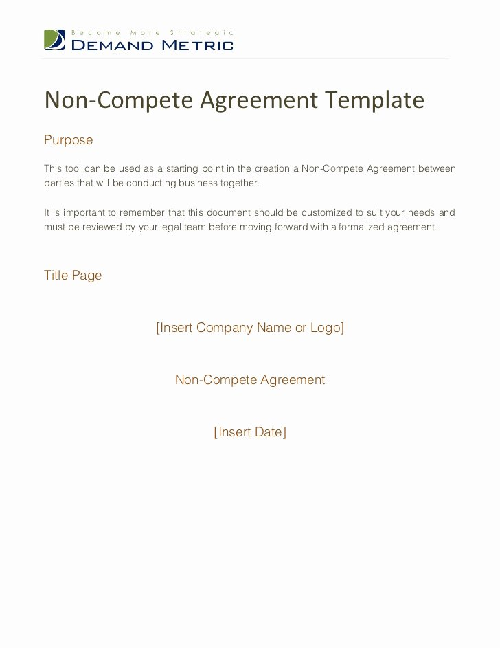 Contractor Non Compete Agreement Template Elegant Non Pete Agreement Template