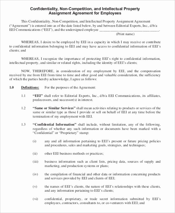 Contractor Non Compete Agreement Template Fresh Business Non Pete Agreement – 11 Free Word Pdf
