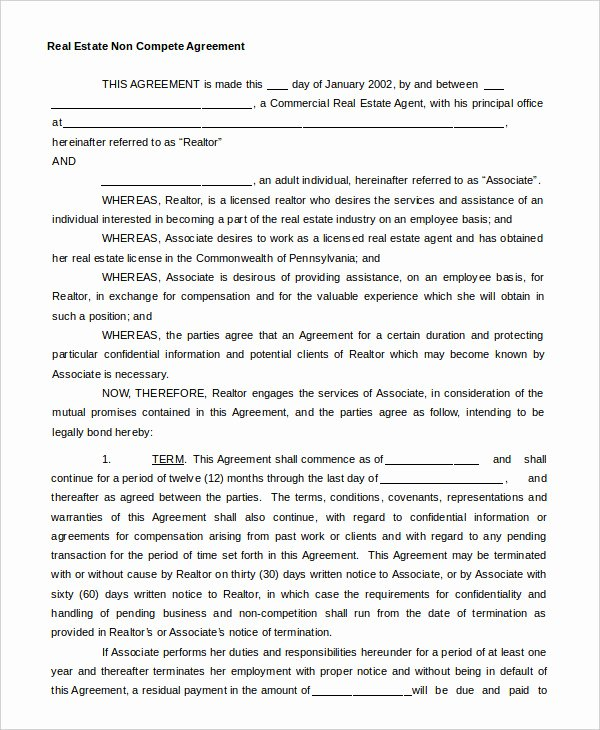 Contractor Non Compete Agreement Template Fresh Non Pete Agreement Template 9 Free Sample Example