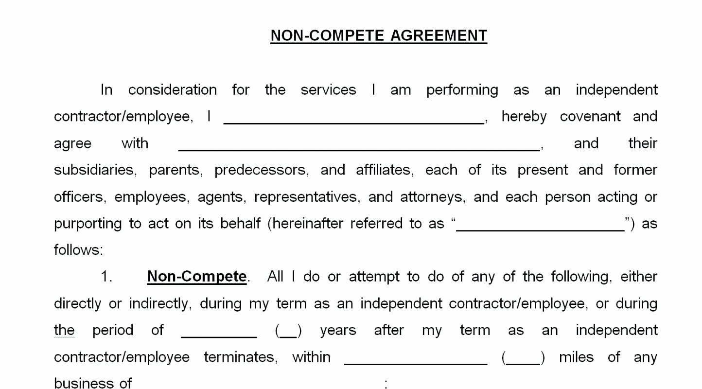 Contractor Non Compete Agreement Template Fresh Template Non Pete Template