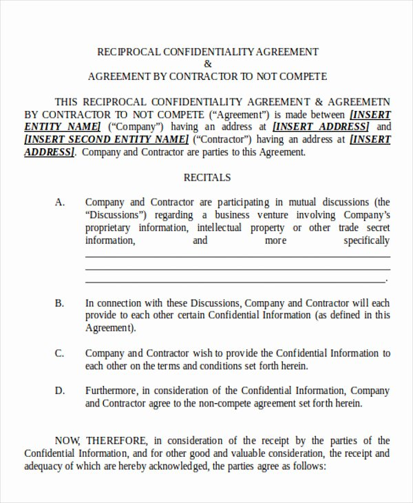 Contractor Non Compete Agreement Template Inspirational 10 Sample Non Pete Agreements