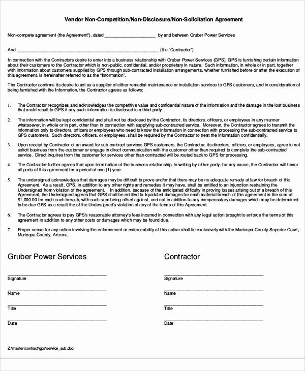 Contractor Non Compete Agreement Template Inspirational 58 Printable Agreement Samples