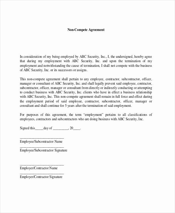 Contractor Non Compete Agreement Template Inspirational 9 Contractor Non Pete Agreement Templates Free