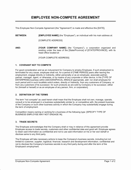 Contractor Non Compete Agreement Template Inspirational Employee Non Pete Agreement Template & Sample form