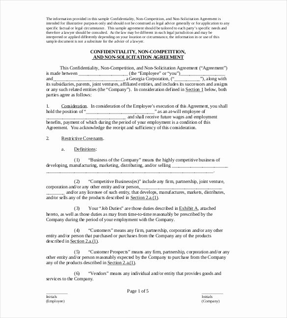 Contractor Non Compete Agreement Template Lovely Non Pete Agreement Template – 10 Free Word Excel Pdf