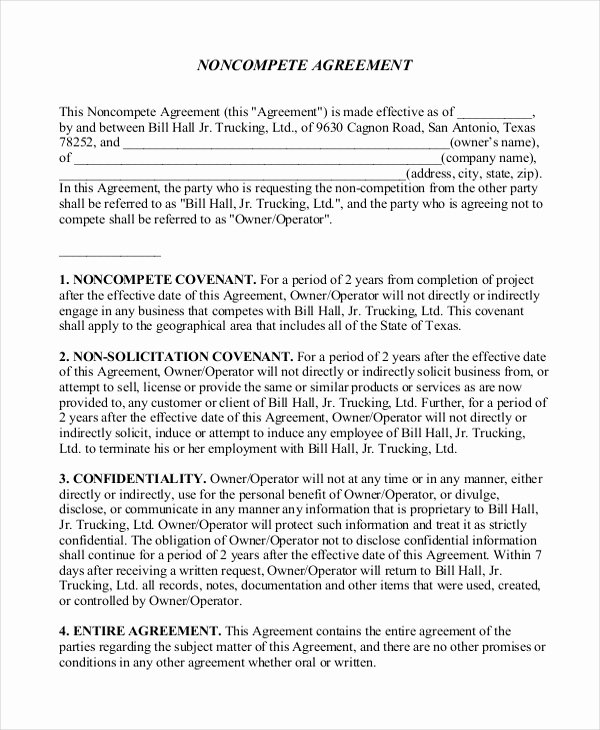 Contractor Non Compete Agreement Template Luxury 11 Business Non Pete Agreement Templates Free Sample