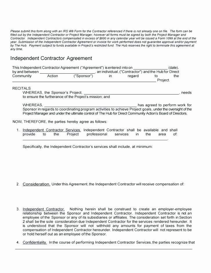 Contractor Non Compete Agreement Template Luxury Independent
