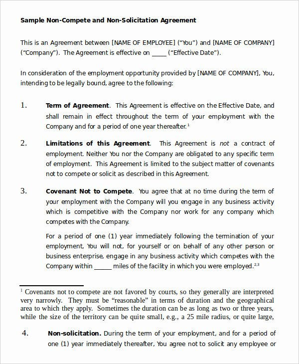 Contractor Non Compete Agreement Template New Non Pete Agreement Template 9 Free Sample Example