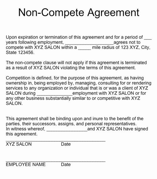 Contractor Non Compete Agreement Template New Q & A Non Pete Agreements Nails Magazine