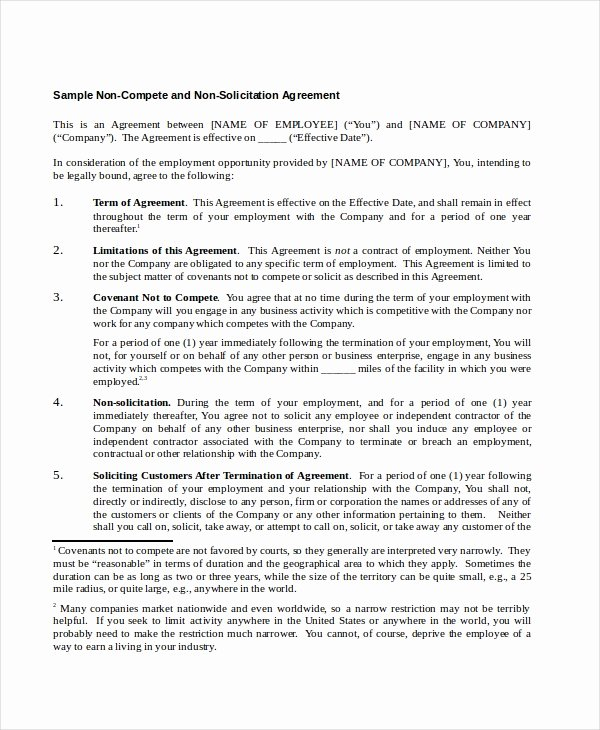 Contractor Non Compete Agreement Template Unique 13 Non Pete Agreements Free Word Pdf format