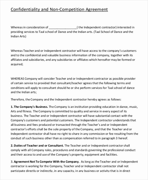 Contractor Non Compete Agreement Template Unique Contractor Non Pete Agreement – 9 Free Word Pdf