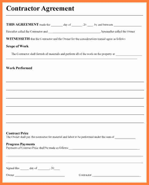 Contractors Contract Template Free Awesome Free Contractor Agreement Template
