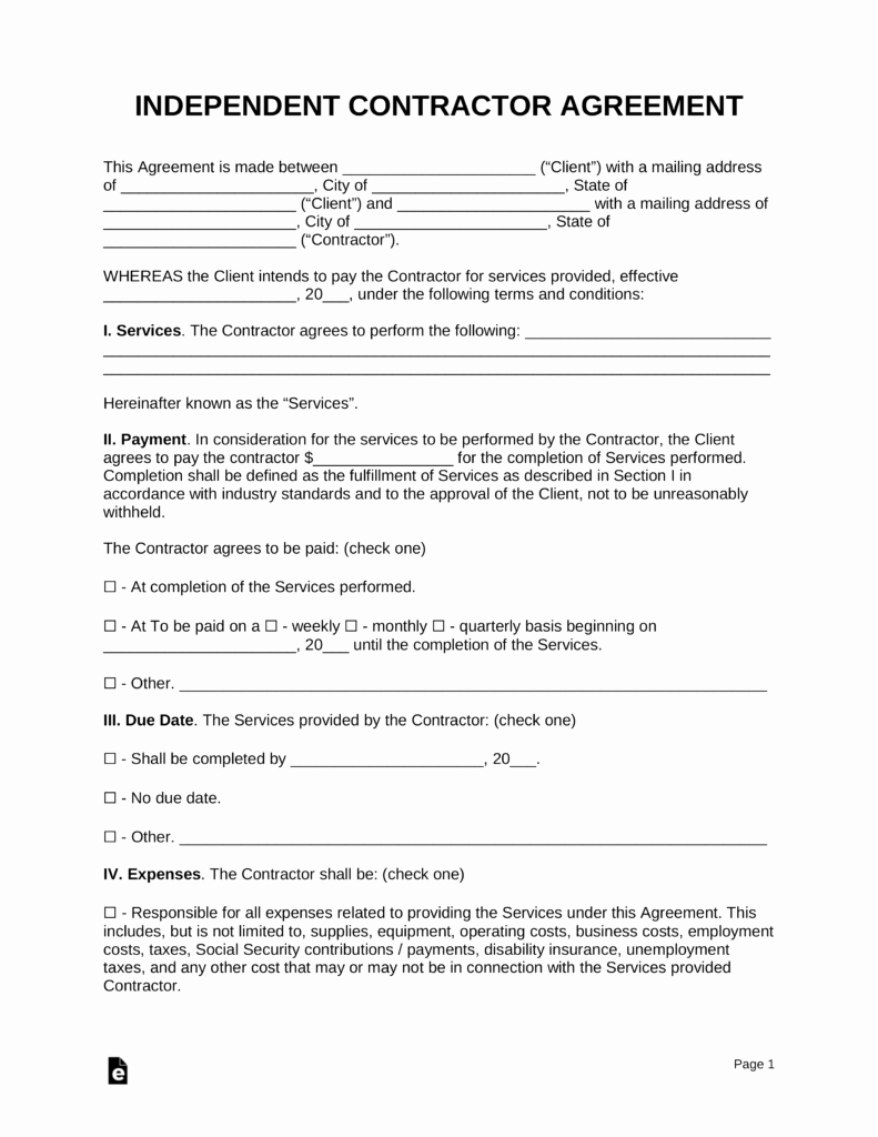 Contractors Contract Template Free Best Of Free Independent Contractor Agreement Template Pdf