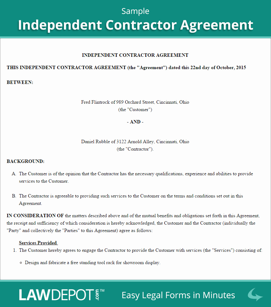 Contractors Contract Template Free Best Of Independent Contractor Agreement Template Us