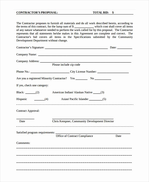 Contractors Contract Template Free Fresh Contractor Proposal Template 13 Free Word Document