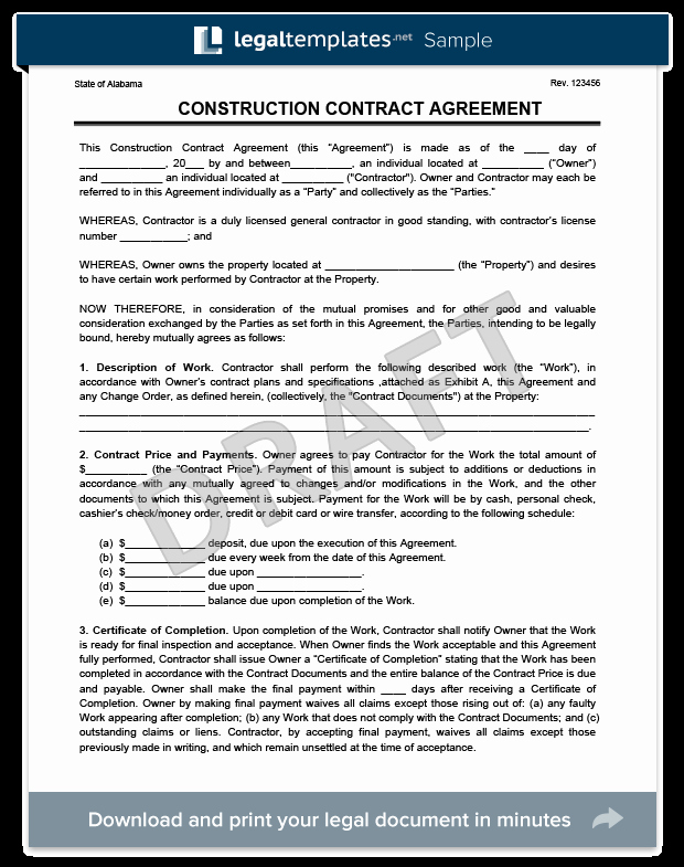 Contractors Contract Template Free Inspirational Create A Free Construction Contract Agreement