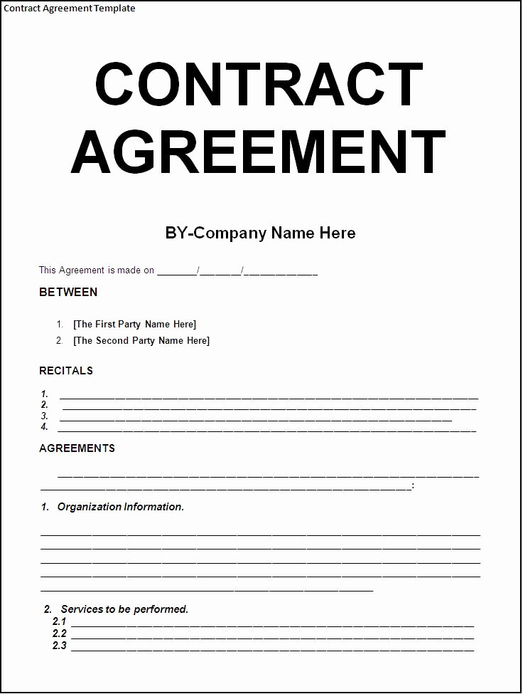 Contractors Contract Template Free Inspirational Simple Template Example Of Contract Agreement Between Two