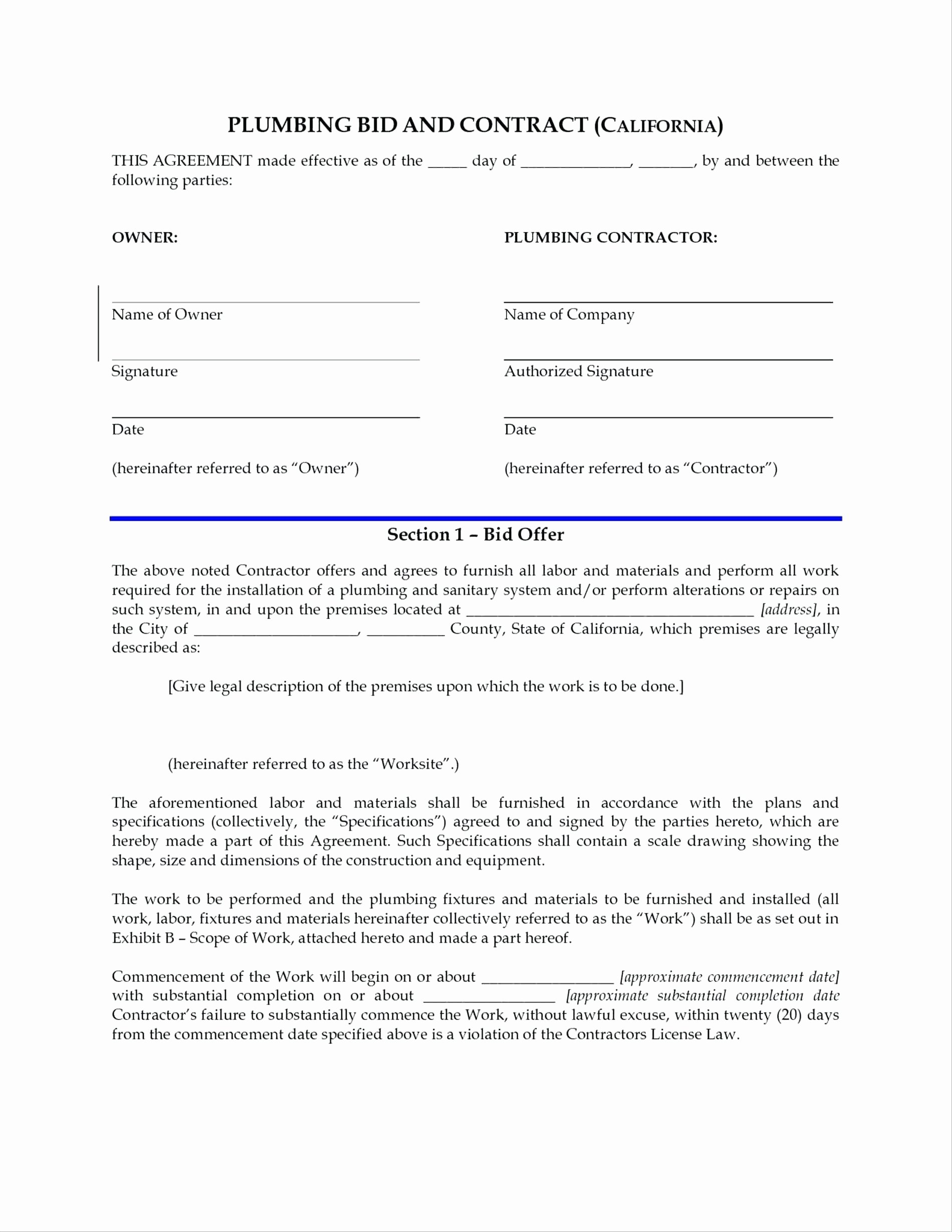 Contractors Contract Template Free Luxury Template General Contractors Contract Template