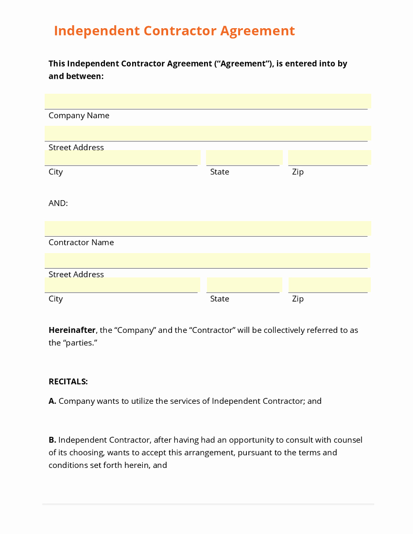 Contractors Contract Template Free Unique Business form Template Gallery