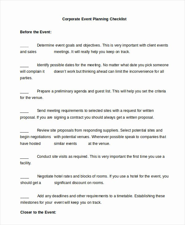 Corporate event Planning Checklist Template Inspirational event Planning Checklist 11 Free Word Pdf Documents