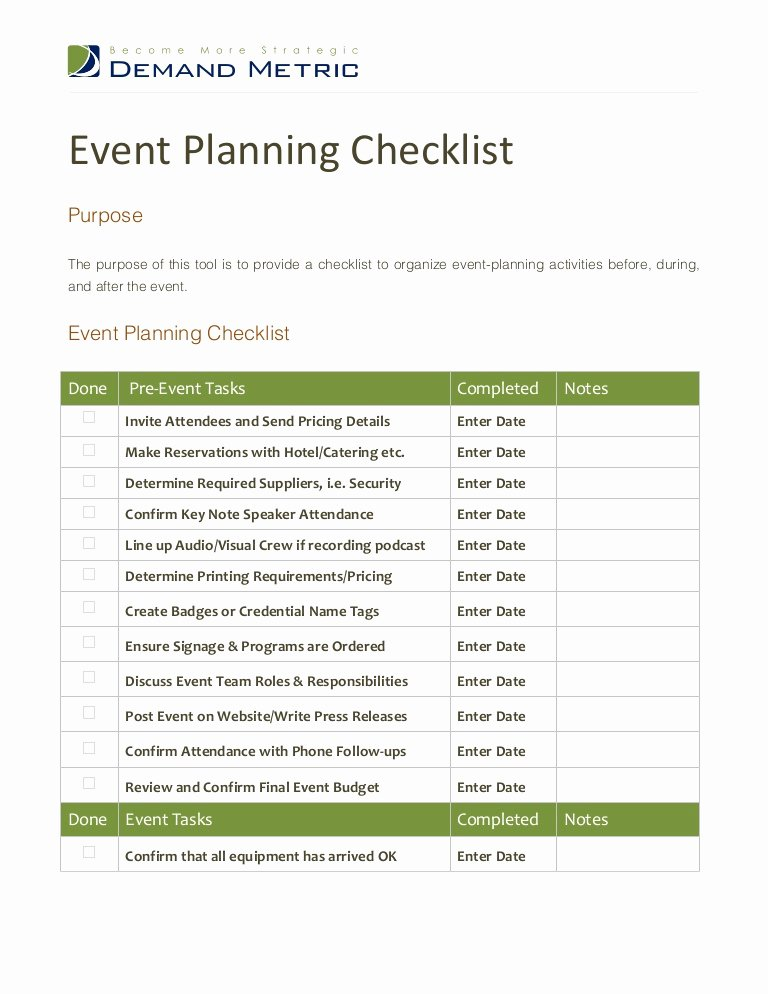 Corporate event Planning Checklist Template Inspirational event Planning Checklist