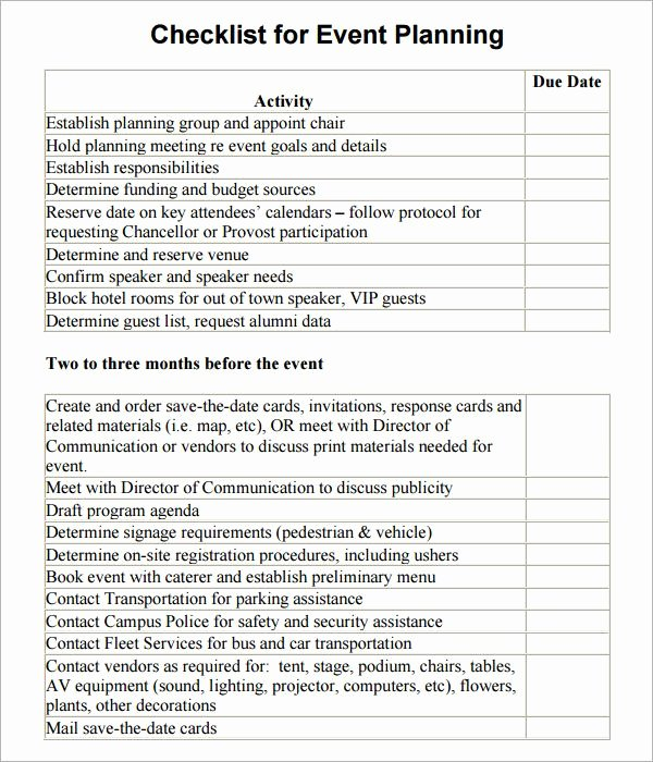 Corporate event Planning Checklist Template Inspirational event Planning Checklist Template event Planning