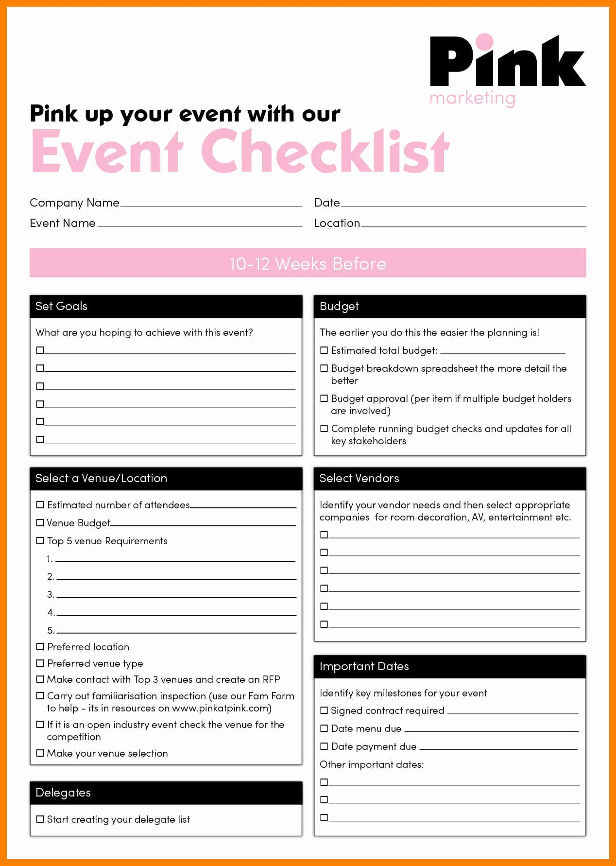 Corporate event Planning Checklist Template Unique event Checklist event Planning Checklist event Planning