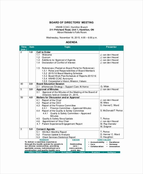 Corporate Meeting Minutes Template Word Beautiful Board Of Directors Meeting Agenda Template – 8 Free Word