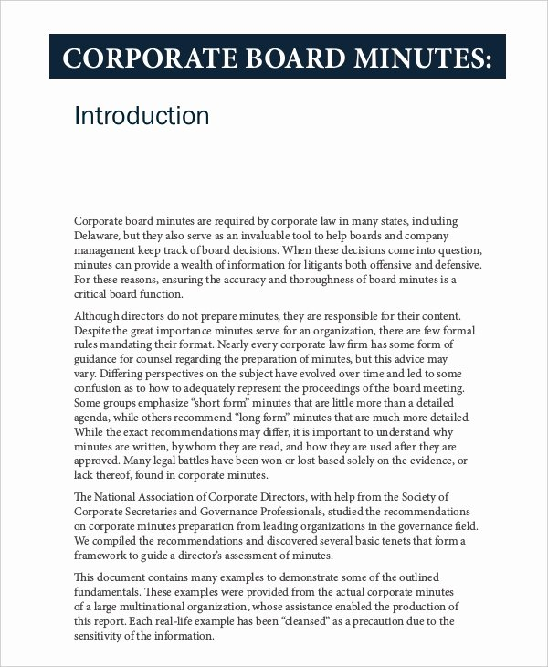 Corporate Meeting Minutes Template Word Beautiful Corporate Minutes Template – 10 Free Word Pdf Documents