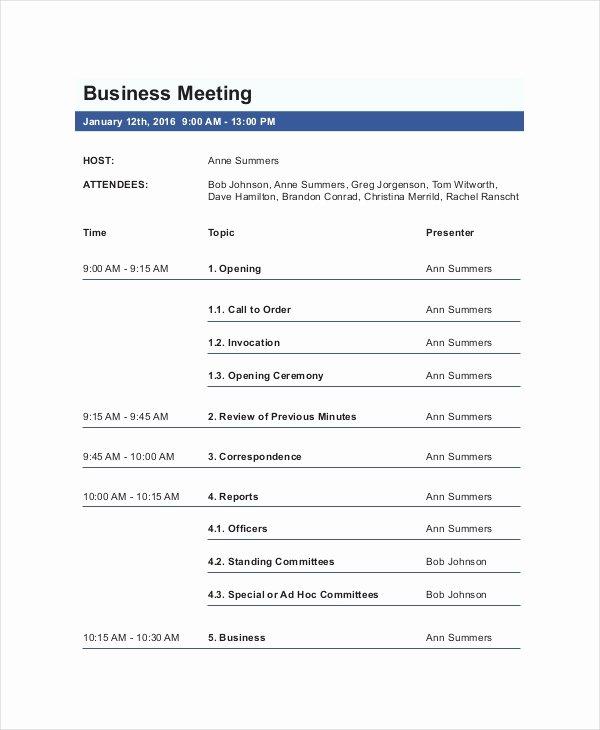 Corporate Meeting Minutes Template Word Elegant Business Meeting Agenda Template – 10 Free Word Pdf