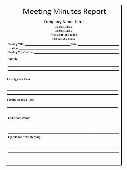 Corporate Meeting Minutes Template Word Elegant Meeting Minutes format Template Pdf Minute Free for A