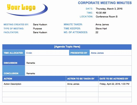 Corporate Meeting Minutes Template Word Fresh Free Meeting Minutes Template for Microsoft Word