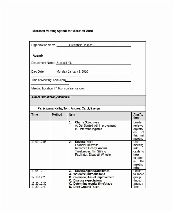 Corporate Meeting Minutes Template Word Lovely 12 Microsoft Meeting Agenda Templates – Free Sample