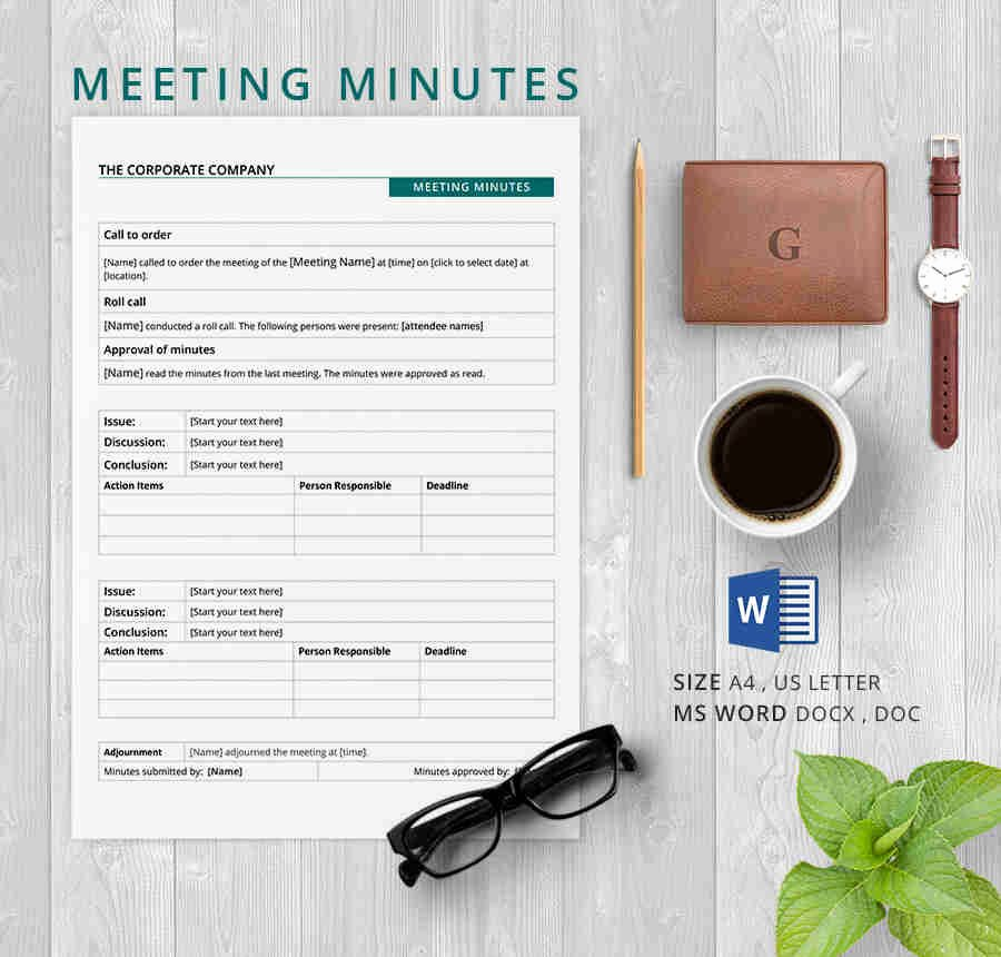 Corporate Meeting Minutes Template Word Lovely 19 Meeting Minutes Template Free Samples Examples