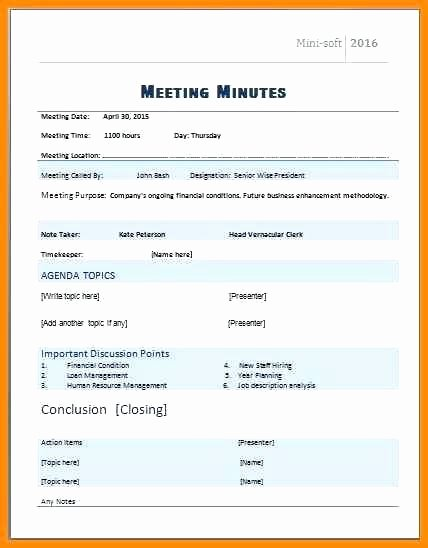 Corporate Meeting Minutes Template Word Unique formal Meeting Agenda Templates Itinerary Minutes Template