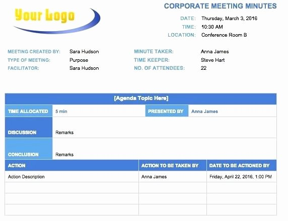 Corporate Minute Book Template Lovely Examples Minutes Meeting Template Excel Best and Word