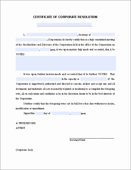 Corporate Resolution Authorized Signers Template Awesome Certificate Of Corporate Resolution