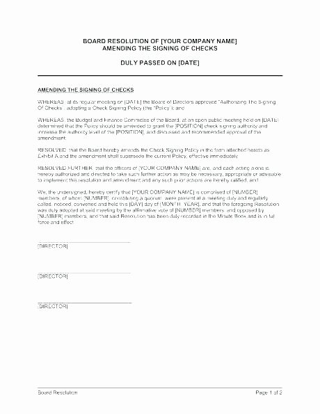 Corporate Resolution Authorized Signers Template Beautiful Board Resolution Template Signature Authority format