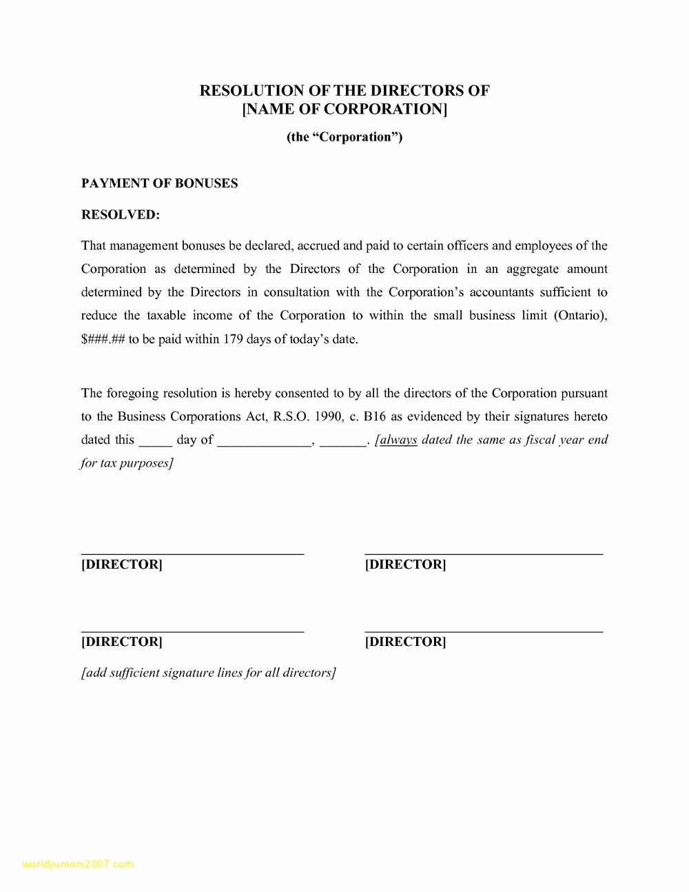 Corporate Resolution Authorized Signers Template Best Of Llc Corporate Resolution Template Templates