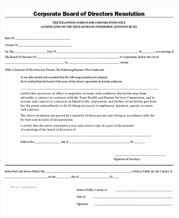 Corporate Resolution Authorized Signers Template Elegant Corporate Resolution Authorized Signers Template Download