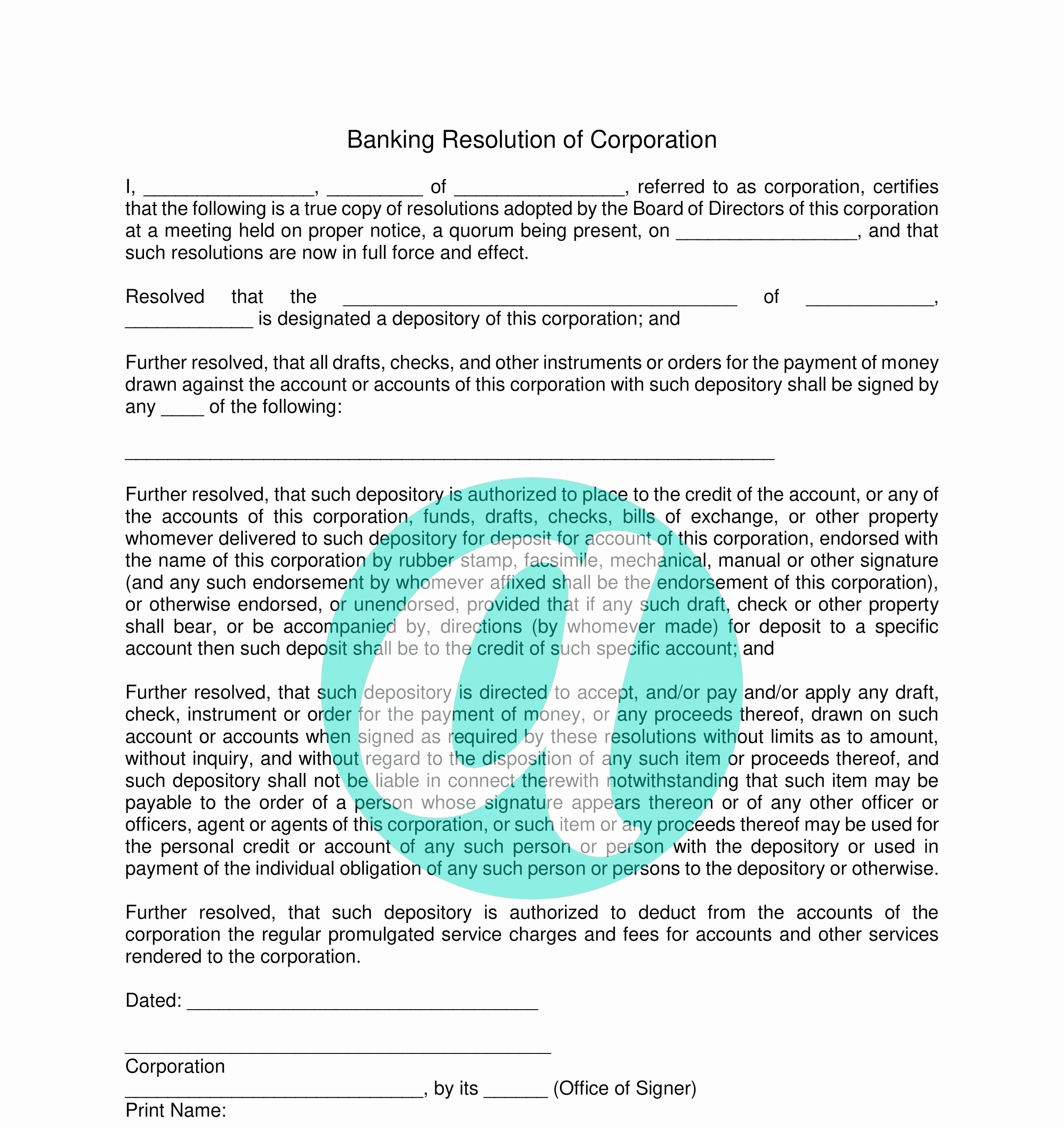Corporate Resolution Authorized Signers Template Fresh Corporate Resolution Authorized Signers Template Choice